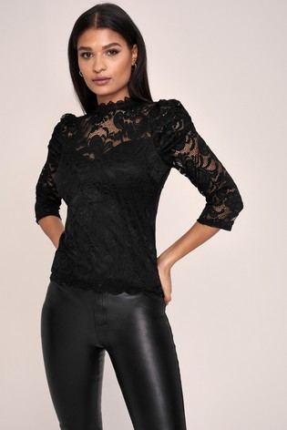 Buy Lipsy High Neck Lace Top from the