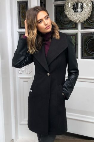 Lipsy Faux Leather Sleeve Coat From, Womens Faux Leather Trench Coat Uk