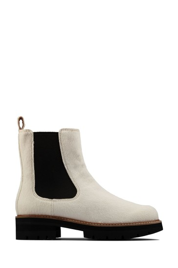 Clarks White Interest Orianna Top Boots