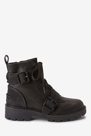 UGG® Noe Black Leather Biker Boots