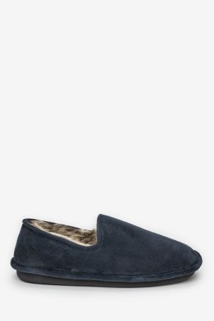 Navy Closeback Slippers