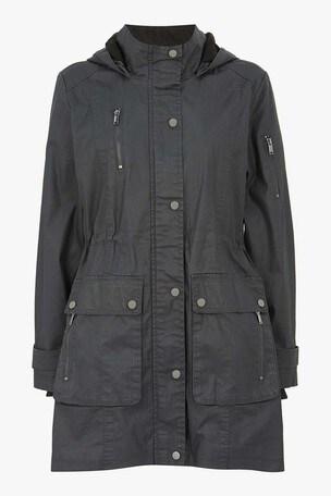 Mint Velvet Grey Layered Waxed Parka Coat