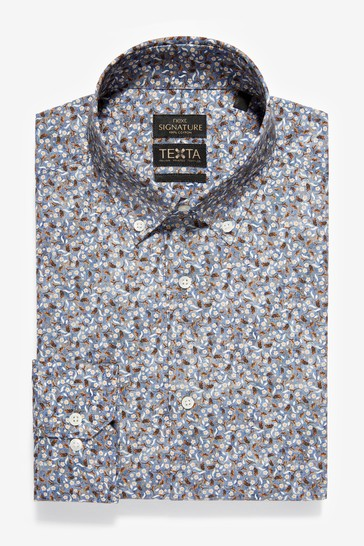 Black Floral Slim Fit Short Sleeve Italian Fabric Texta Signature Shirt