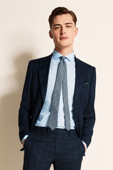 Moss London Slim Fit Blue Overcheck Jacket