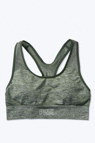 Victoria's Secret PINK Dark Grey Marl Seamless Medium Support Sports Bra