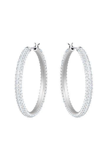 Swarovski Rose Gold Stone Hoop Pierced Earrings