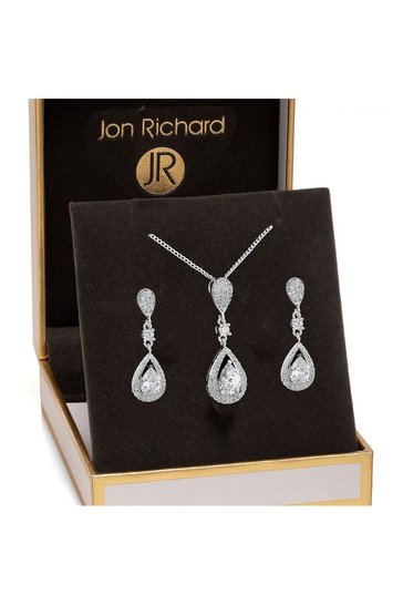 Jon Richard Silver Plated Clear Crystal Pave 3 Tier Pear Drop Necklace & Earring Matching Set