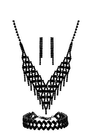 Mood Black Plated Jet Diamante 3 Piece GIft Set