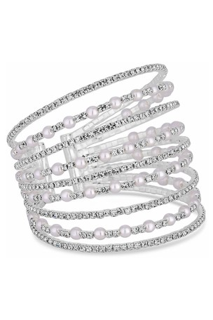 Mood Silver Plated Pearl And Crystal Wide Cuff Multipack Bracelet