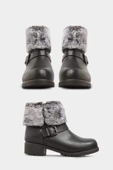 Yours Black Yours Atri Faux Fur Cuff Buckle Ankle Boot