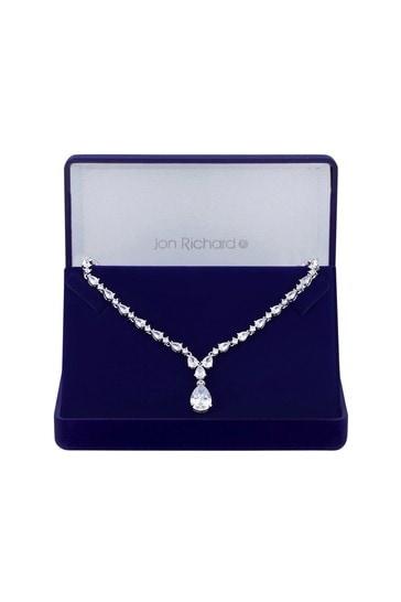 Jon Richard Silver Rhodium Plated Cubic Zirconia Graduated Peardrop Short Pendant Necklace - Gift Boxed