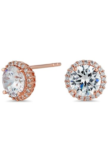 Simply Silver Rose Gold Plated Cubic Zirconia Pave Halo Stud Earrings
