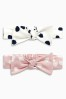 Pink/Cream Spot Print Bow Headbands Two Pack (0-18mths)