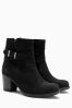 Black Leather Water Resistant Ankle Boots