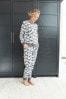 Grey Moose Print Cotton Pyjamas (Womens)