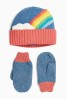 Multi Rainbow Hat And Mitts Set (Younger)