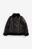 Полиуретановая байкерская куртка с подкладкой из искусственного меха  (3-16 лет)