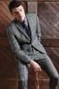 Grey Slim Fit Check Suit: Jacket
