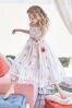 White/Coral Floral Maxi Dress (3-16yrs)