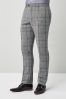 Grey Slim Fit Check Suit: Trousers