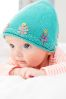 Teal Embroidered Knitted Hat (0mths-2yrs)