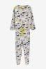 Grey Dog Print Cotton Tie Hem Pyjamas, XL Tall