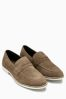 Stone Suede Saddle Loafer