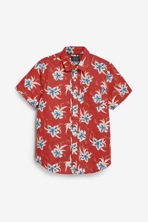 <span>Красный</span> - Рубашка из смесового льна с короткими рукавами и цветочным рисунком
