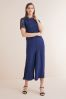 Navy Lace Top Jumpsuit, Regular/Tall