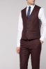 Burgundy Nep Fabric Skinny Fit Suit: Waistcoat