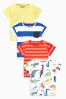Dino Stripe Short Sleeve T-Shirts Four Pack (3mths-6yrs)