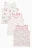Ecru/Pink Floral/Spot Vests Three Pack (1.5-12yrs)