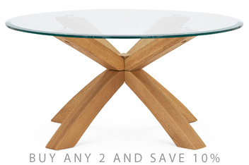 Oak And Glass Round Coffee Table