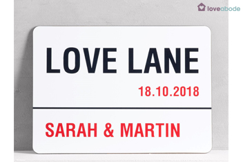 Personalised Love Lane A4 Wall Art By Loveabode