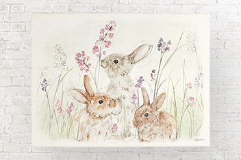 Bunnies In Meadow Canvas