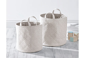 Set of 2 Quilted Storage Tubs