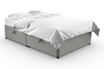 Upholstered Simple Contemporary Silver Divan With Drawers & Flip