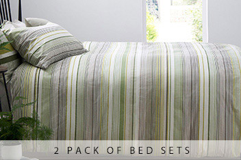 2 Pack Fine Stripe Bed Set