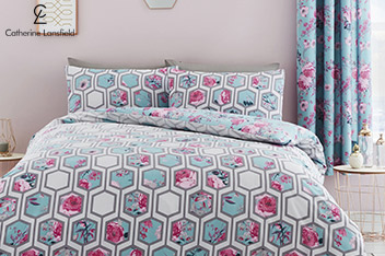 Catherine Lansfield Hexagon Floral Bed Set