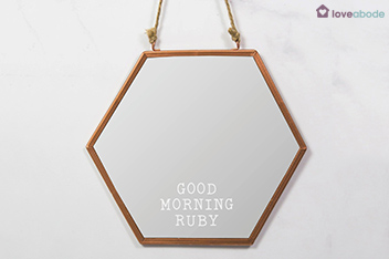 Personalised Good Morning Hexagon Mirror by Loveabode