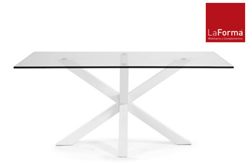 Arya White Glass Dining Table By La Forma
