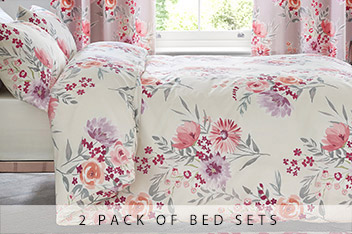 2 Pack Cream And Mauve Floral Bed Set