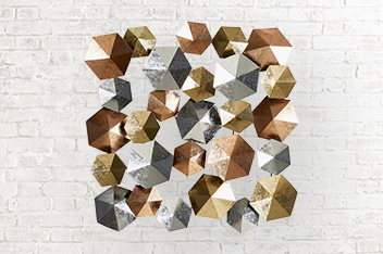 Mixed Metal Hexagonal Wall Plaque