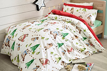 Brushed Cotton Family Bears Bed Set