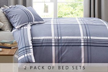 2 Pack Blue Check And Stripe Bed Set