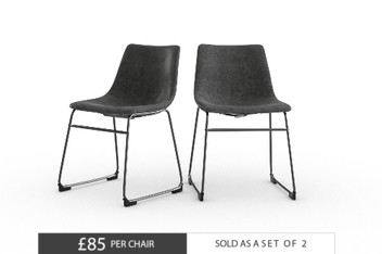 Set Of 2 Wyatt Faux Leather Monza Grey Dining Chairs