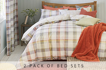 2 Pack Bracken Check Bed Set