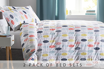 2 Pack Patterned Ovals Bed Set