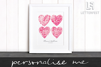 Personalised Couples Framed Print by Letterfest