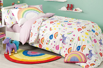 Rainbows And Unicorns Bed Set